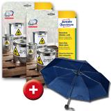 2 Pg. wetterfeste, strapazierfähige Etiketten + Regenschirm GRATIS