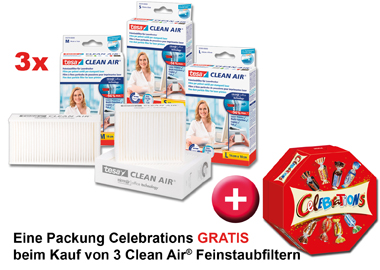 Clean Air Feinstaubfilter + Celebrations GRATIS