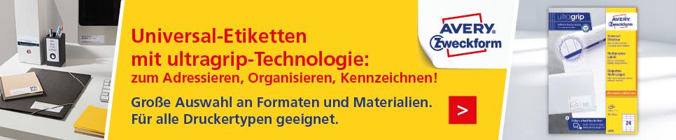 Universal-Etiketten mit ultragrip-Technologie: zum Adressieren, Organisieren, Kennzeichnen!
